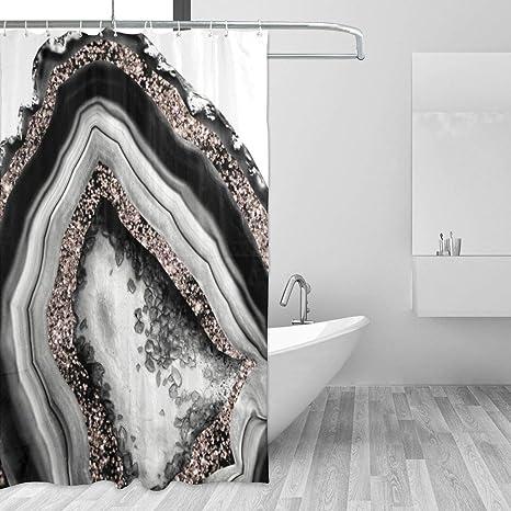 "71/""x71/"" Fabric Bathroom Shower Curtain Set 3D Printed Waterproof w// 12 Hooks US"