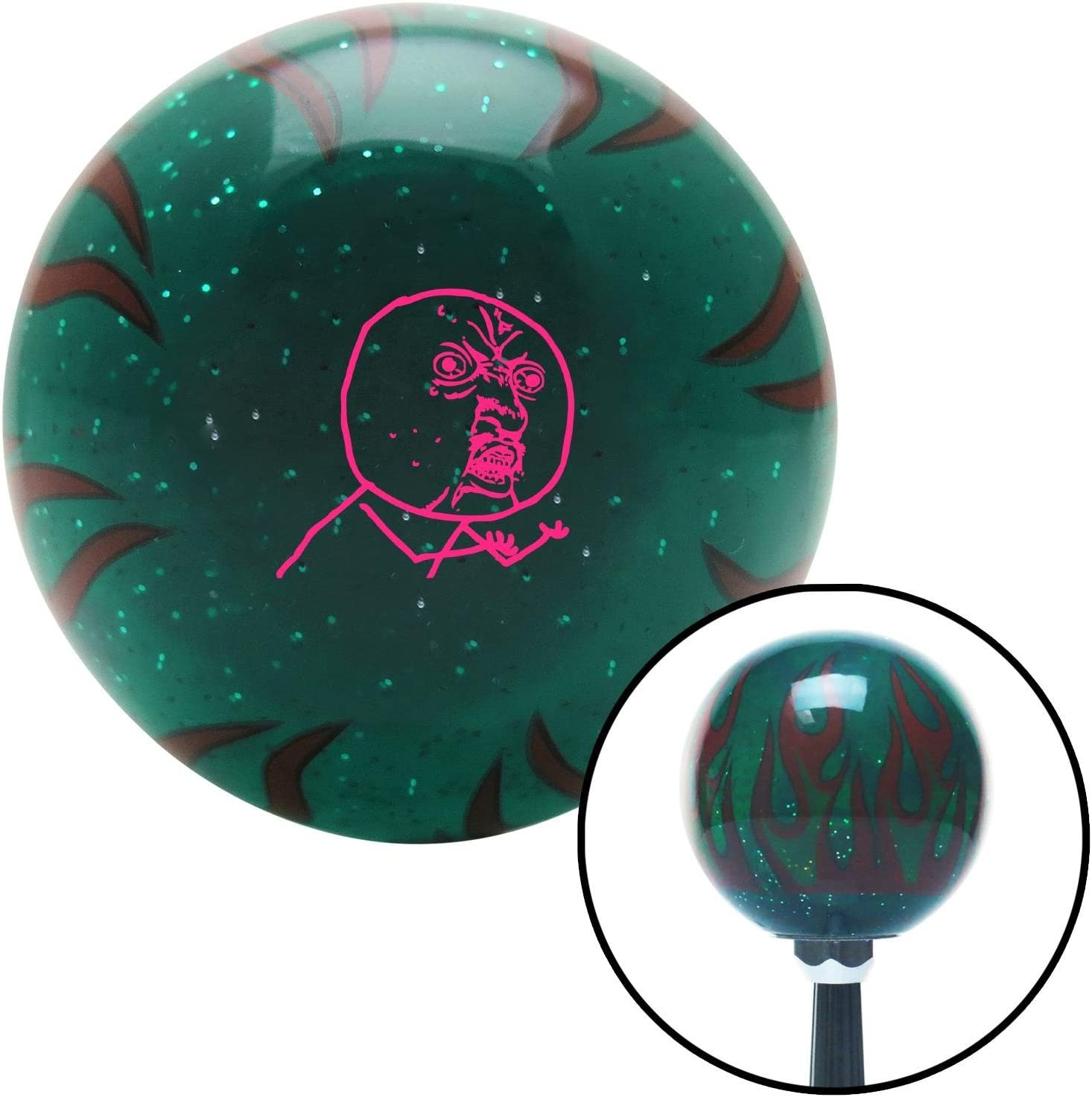 Pink Yuno Green Flame Metal Flake with M16 x 1.5 Insert American Shifter 300138 Shift Knob