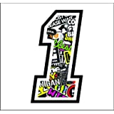 Adhesivo NUMERO 1 CARRERA RAZA 12 cm - STICKER BOMB - gara cross coche motocicleta pista sticker