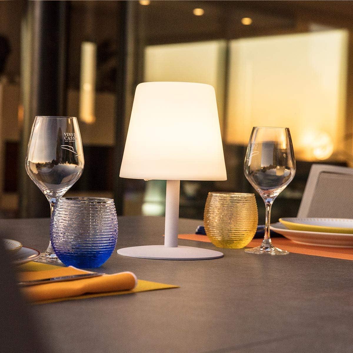 Lumisky Lampe de Table de Jardin lumière Blanche sans Fil sur Batterie STANDY Mini Rock à LED 26cm, ABS, Gris, 15x15xH26 Rosa