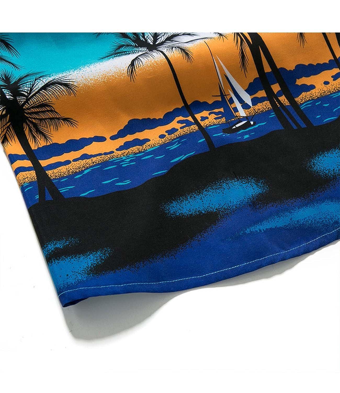 Nidicus Men Tropical Palm Short Sleeve Button Front Hawaiian Aloha Shirt