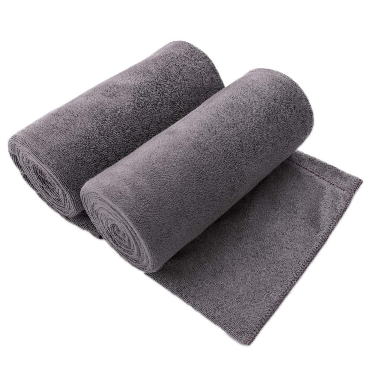 "JML Microfiber Bath Towels, Bath Towel 2 Pack(30"" x 60""), Oversized, Soft, Super Absorbent and Fast Drying, No Fading Multipurpose Use for Sports, Travel, Fitness, Yoga - Grey"