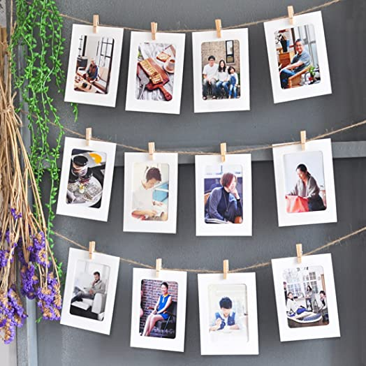 dremisland photo hanging display string and pegs diy picture frames collage set includes 30 meter - Diy Picture Frame Collage