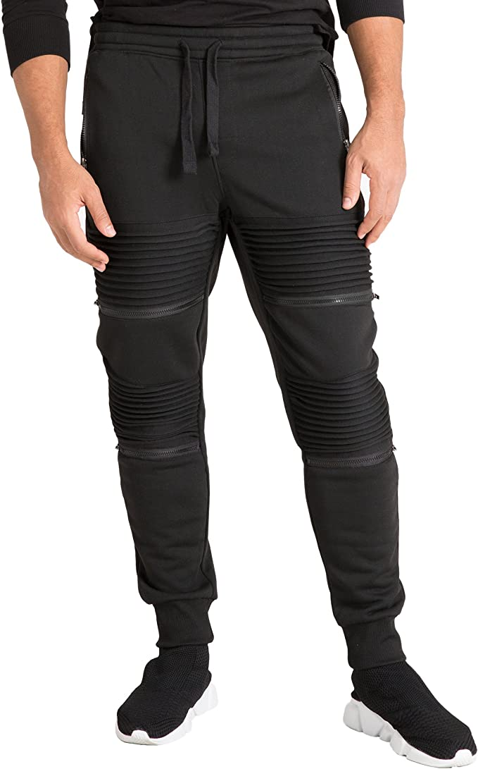 Men/'s Real Leather Bikers Pants Quilted Panels Double Zips Soft Leather Pants
