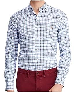 006ebbd11 Ralph Lauren Polo Men s Slim Fit Cotton Stretch Checked Plaid Oxford Shirt