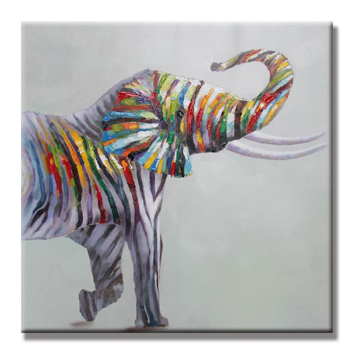 SEVEN WALL ARTS - 100% Hand Painted Oil Painting Cute Colorful Animal Elephant Decorative Artwork for Home Decor 24 x 24 Inch