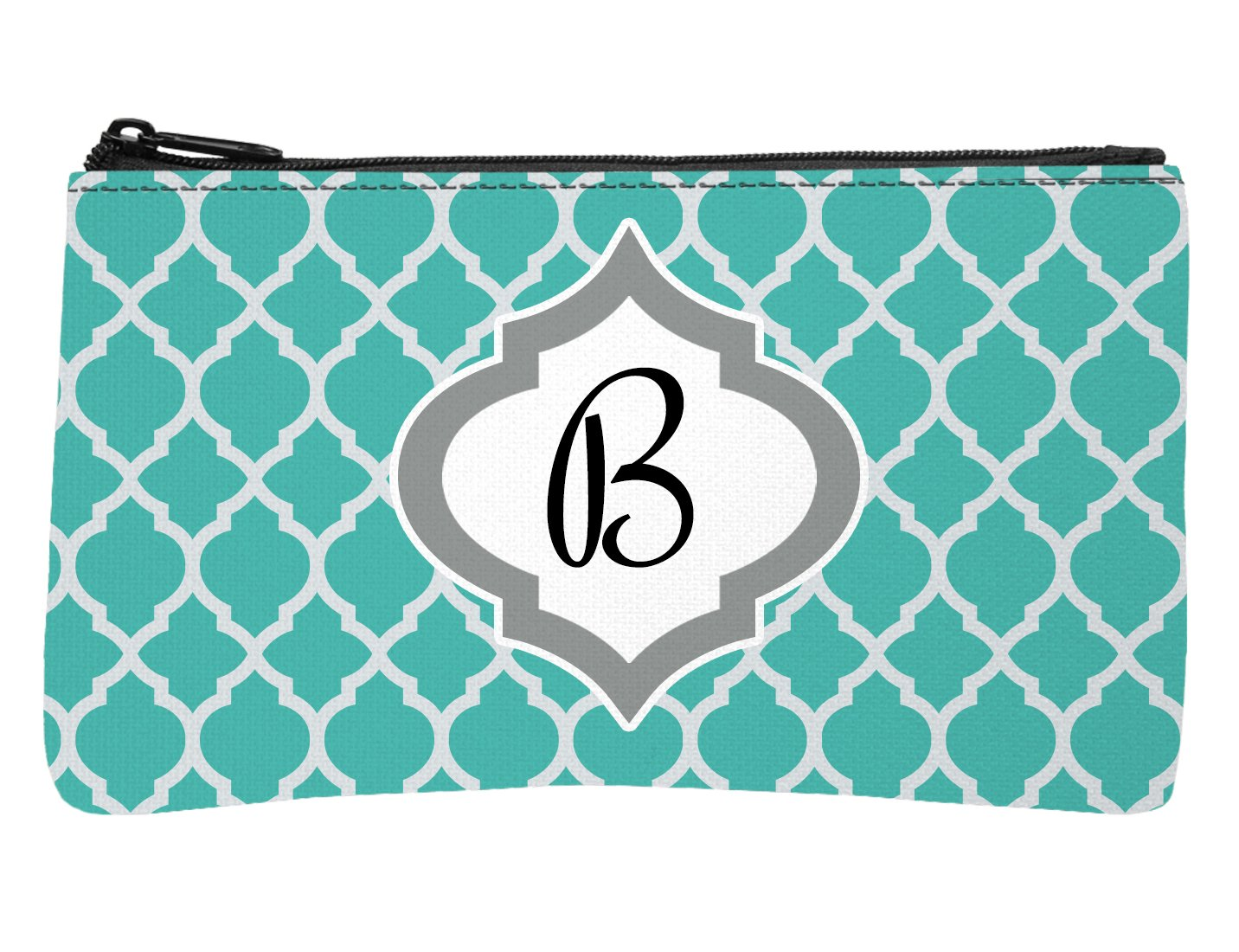 Trendy Teal Moroccan Monogram Design Multi-Purpose Small Zippered Stitch Pouch