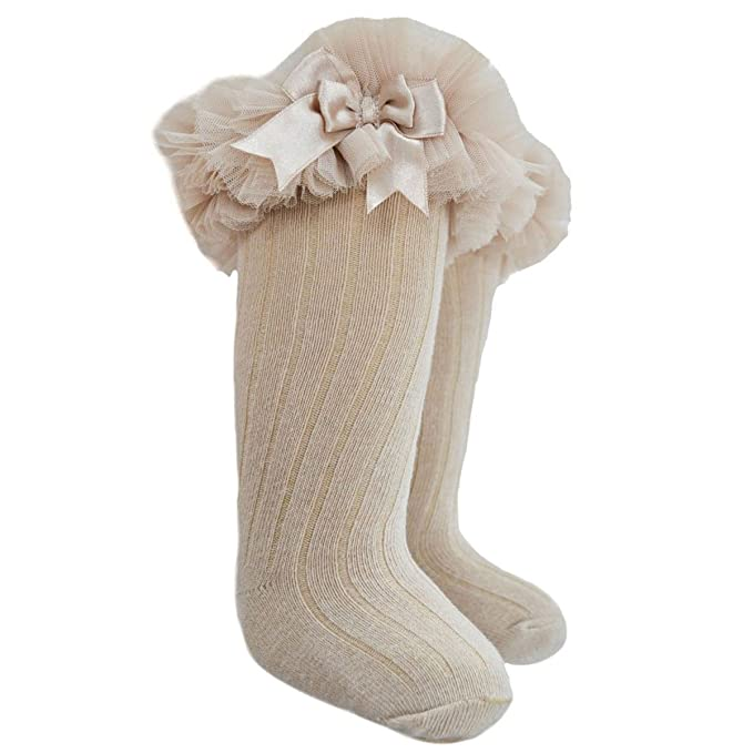 Socks & Tights Baby Girls Sock Bootees With Organza Lace And Satin Bow By Soft Touch Cream