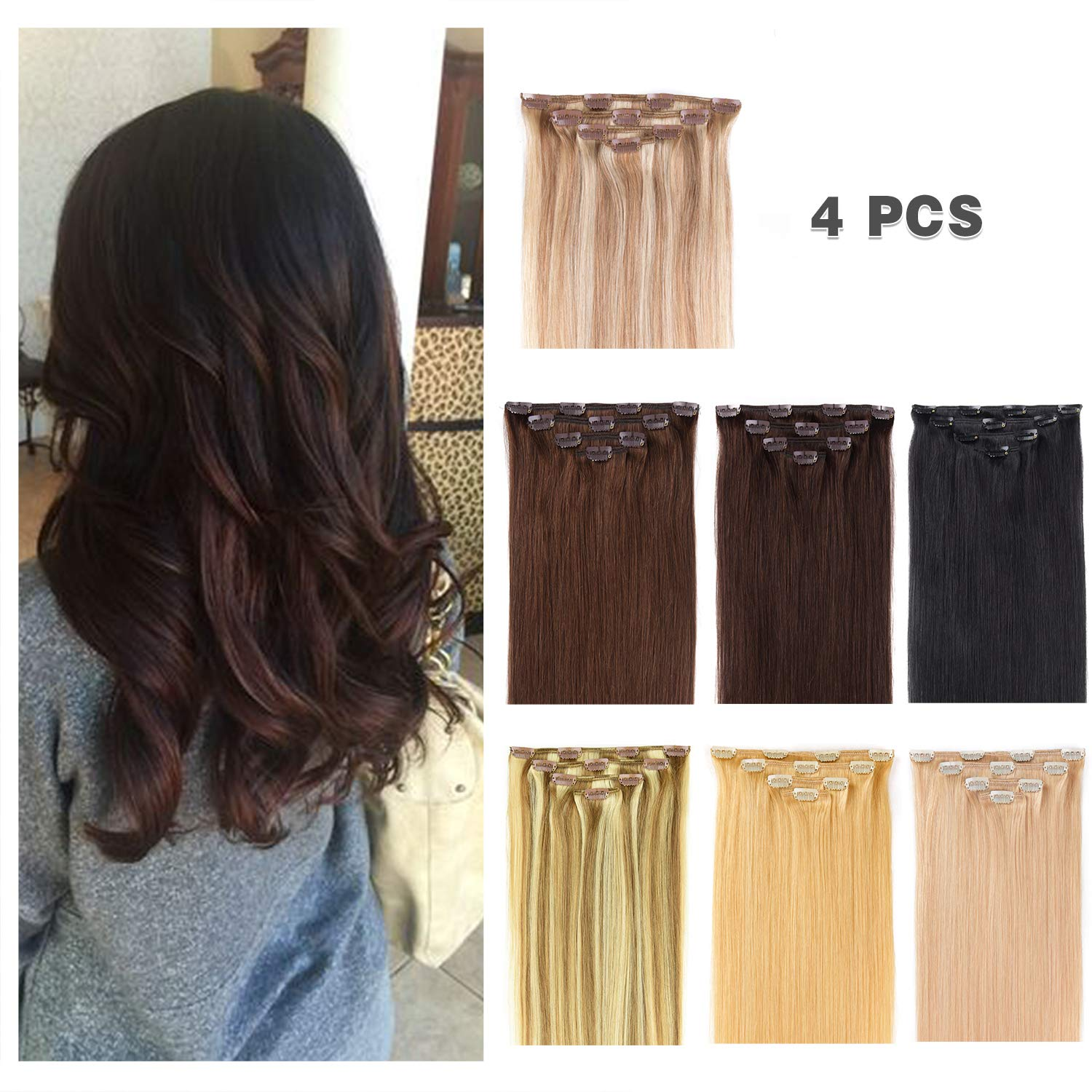 14'' Clip in Hair Extensions Remy Human Hair for Women - Silky Straight Human Hair Clip in Extensions 50grams 4pieces Dark Brown #2 Color by Winsky