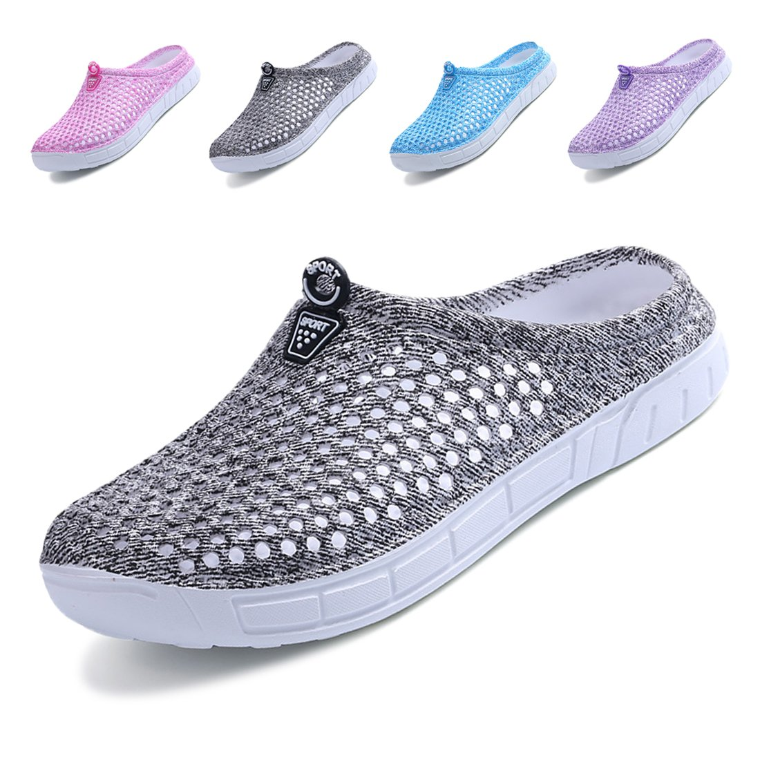 Lewhosy Women's Garden Clogs Shoes Slippers Sandals Quick Drying Lightweight Breathable(38/Gray)