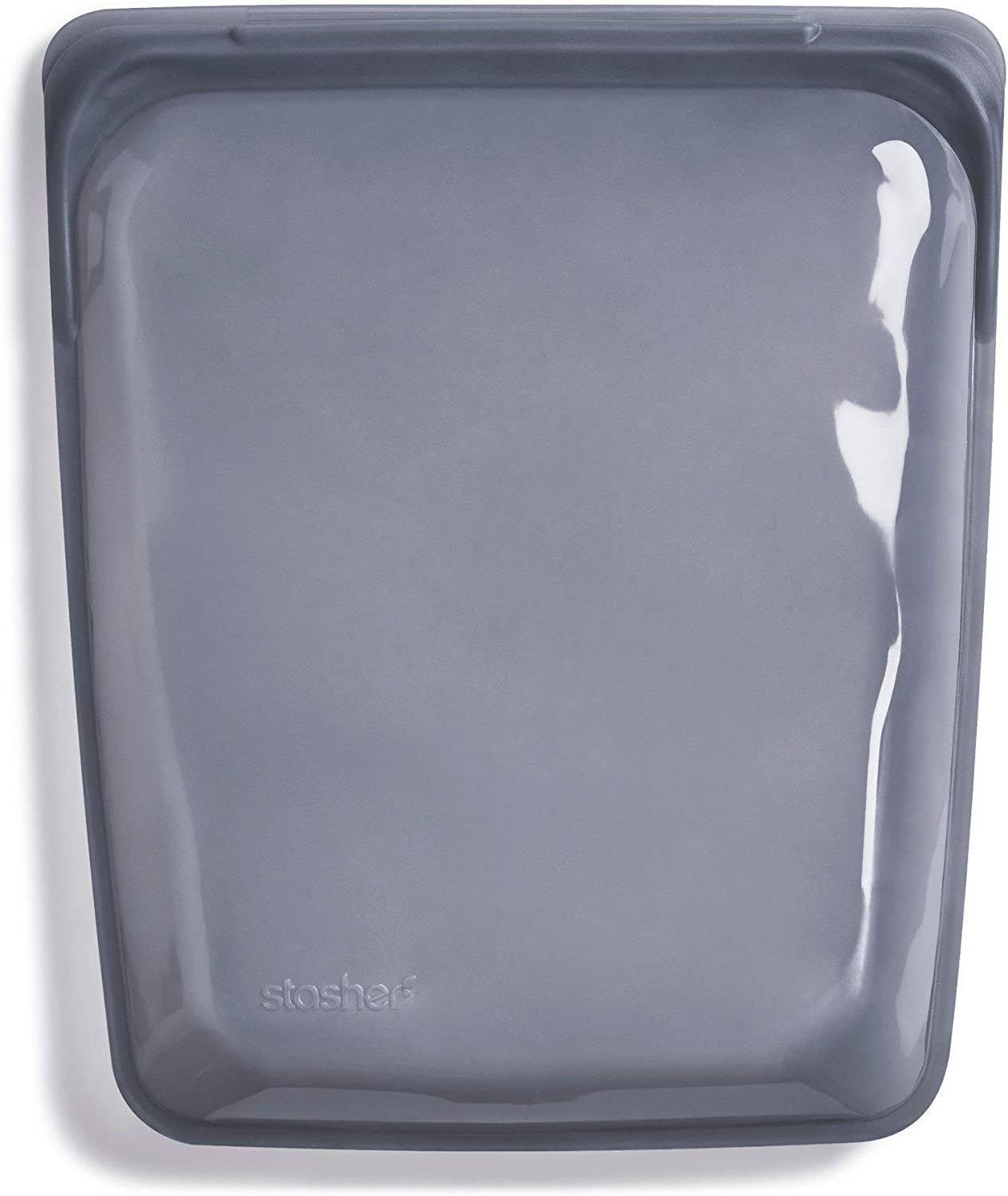 Stasher Re-Usable Food-Grade Platinum Silicone Half Gallon Bag for Eating from/Cooking, Freezing and Storing in/Sous Vide/Organising/Travelling, 26.05 cm x 20.95 cm, Ash