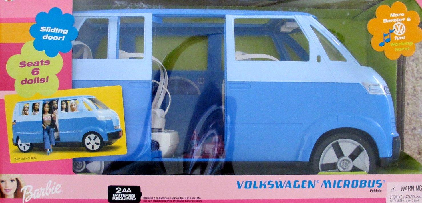 "Barbie Volkswagen MICROBUS Vehicle SUV VAN w Working HORN & Sliding DOOR (BLUE) - Seats 6 or 11.5"" Fashion Dolls (2002)"