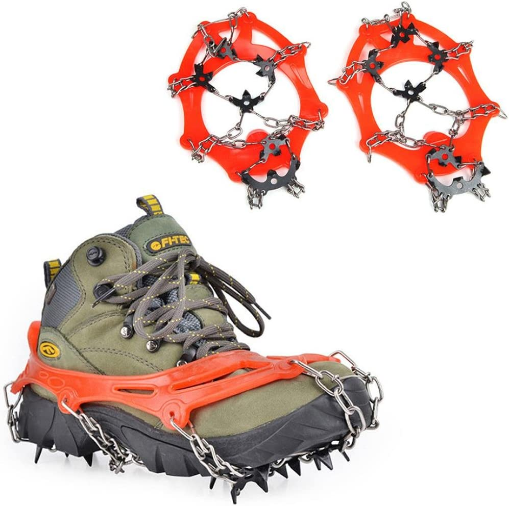 1 pair ,8 Teeth Claws Crampons Non-slip Shoes Cover Stainless Steel Manganese steel Chain Outdoor Ski Ice Snow Hiking Climbing Amasawa Crampons orange