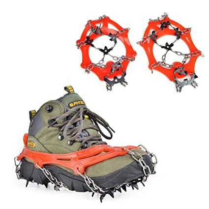 12 Teeth Ice Snow Shoes Spike Grip Boots Chain Outdoor Crampons Orange L