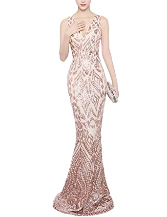 PromCC Womens Long Mermaid Prom Evening Dresses 2017 V-neck Formal Gowns FM49 Rose Gold