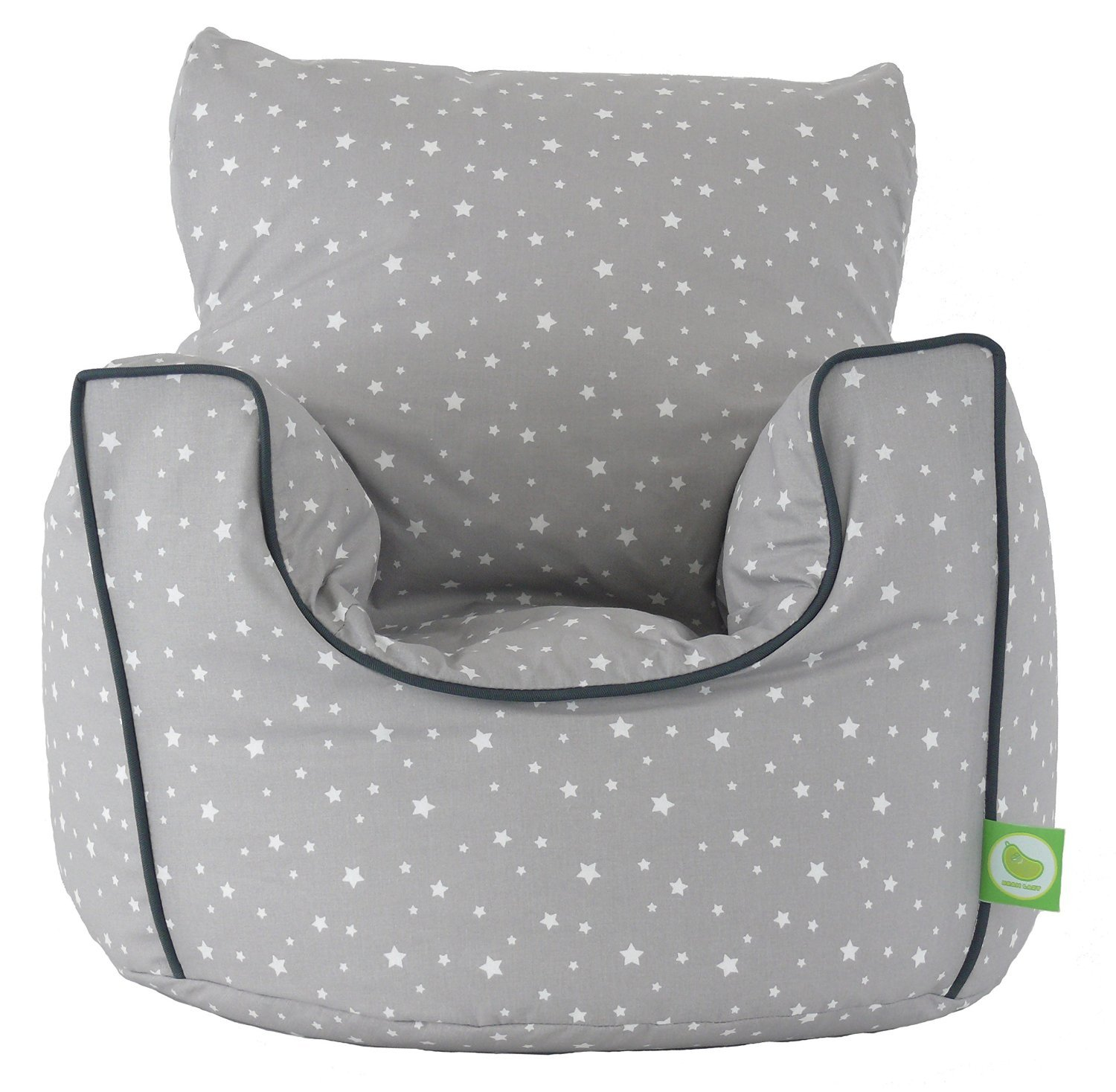 Cotton Grey Stars Bean Bag Arm Chair with Beans Child size BeanLazy
