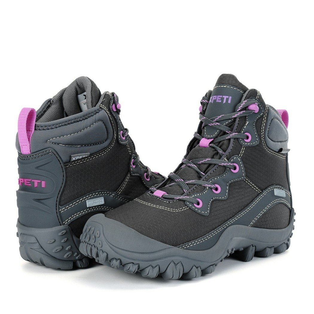 XPETI Women's Mid Waterproof Hiking Outdoor Boot (6 B(M) US, Gray) by XPETI (Image #7)