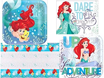 Disney Ariel The Little Mermaid Dream Birthday Party Plates Napkins and Tablecover for 16  sc 1 st  Amazon.com & Amazon.com: Disney Ariel The Little Mermaid Dream Birthday Party ...