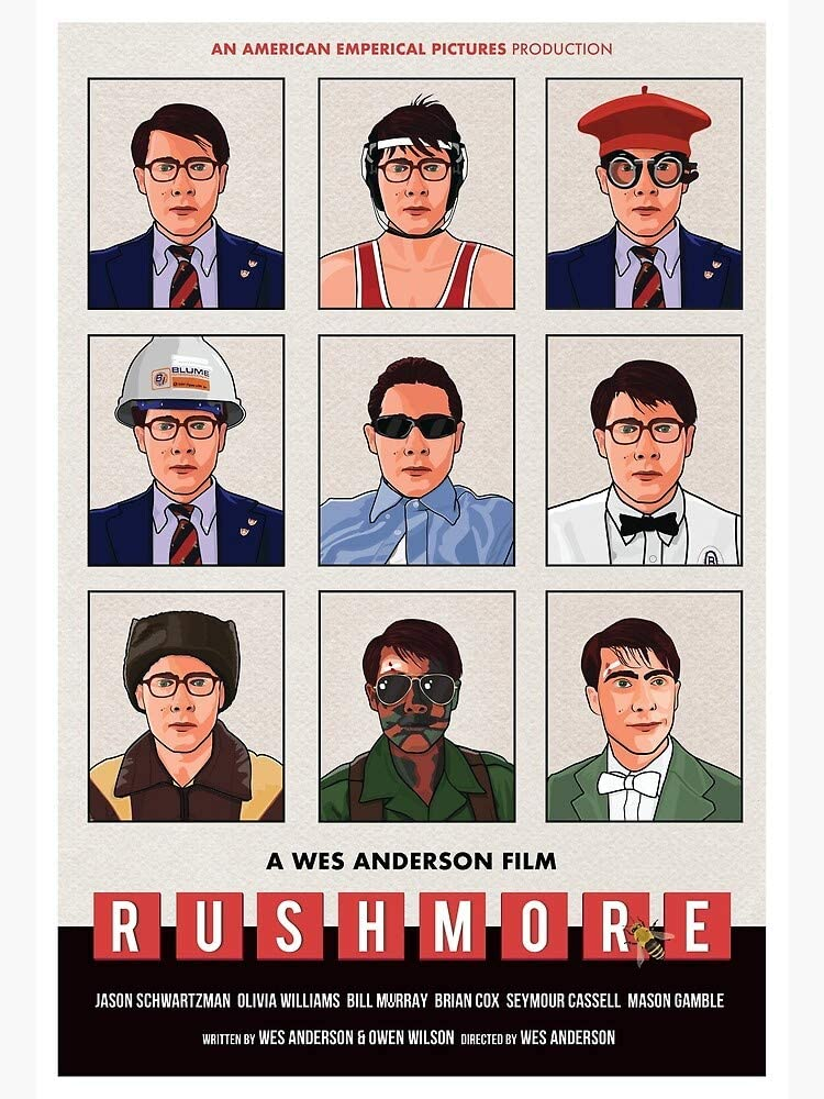 Pearl Shine Wes-Anderson's Rushmore Movie Max-Fischer Rosemary-Cross Movie Poster Wall Decoration [Unframed] (24x36)