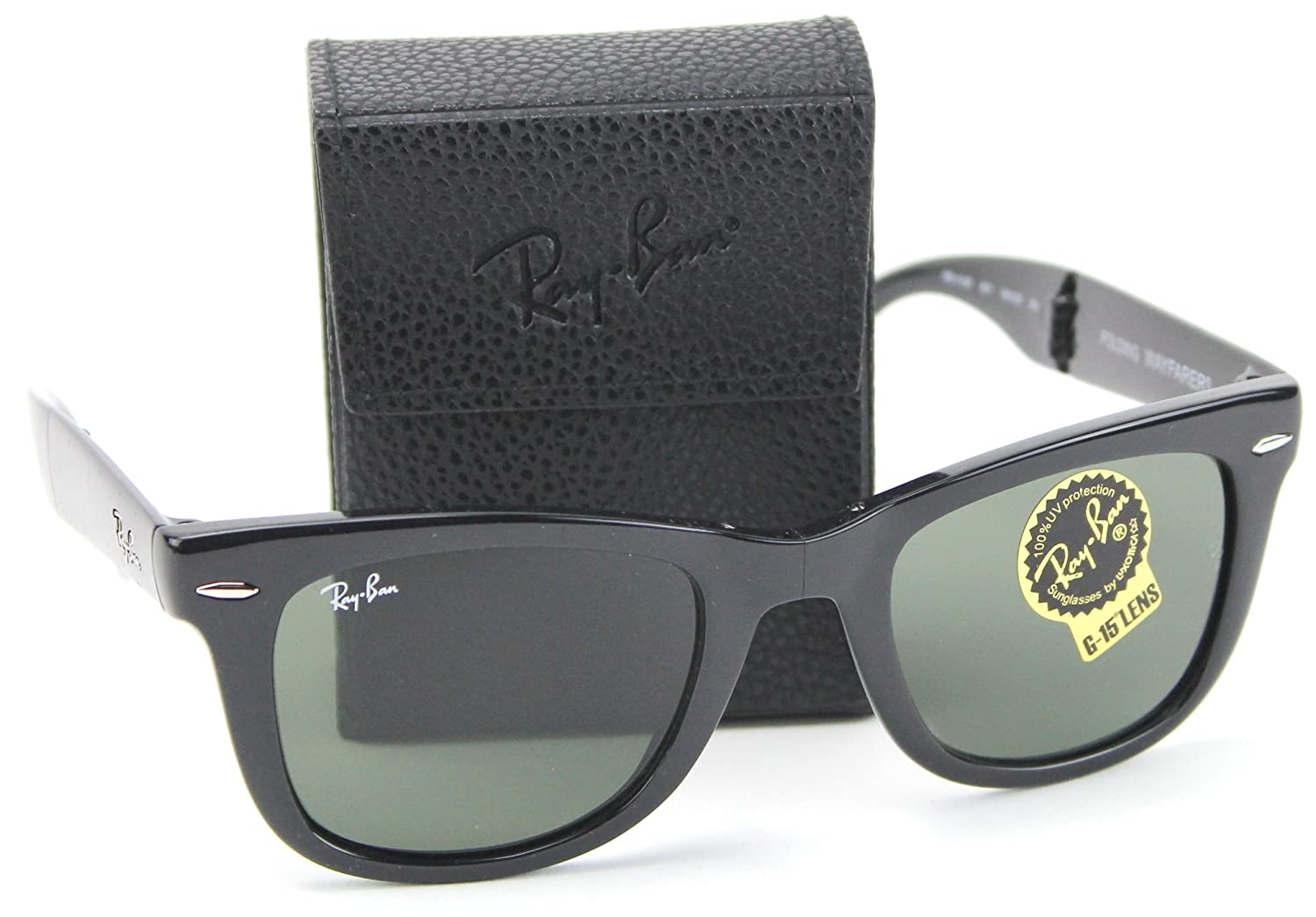 47c3bea35a Amazon.com  Ray-Ban RB4105 601 Wayfarer Folding Black Frame   Crystal Green  G-15 Lens 54mm  Shoes