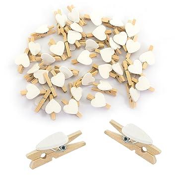 Amazon De Oblique Unique Herz Mini Holz Wascheklammern 50 Stuck In