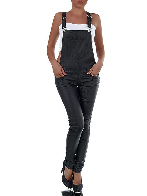 N256 Damen Jeans Hose Hüfthose Damenjeans Latzhose Lederimitat Leder - Look,  Farben Schwarz, Größen 42 (XL)  Amazon.de  Bekleidung a602c8f9ad