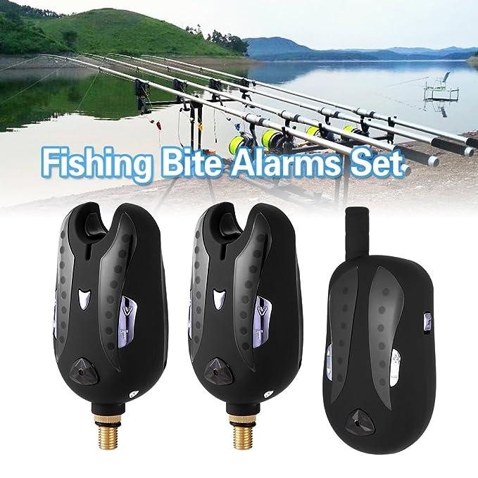 Lixada Alarma de Pesca Inalámbrico Digital Set Alarmas de Mordida de Pesca Receptor de Pesca con Led Indicador Estuche Portátil