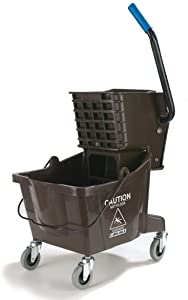 Carlisle 3690869 Commercial Mop Bucket with Side Press Wringer, 26 Quart Capacity, Brown
