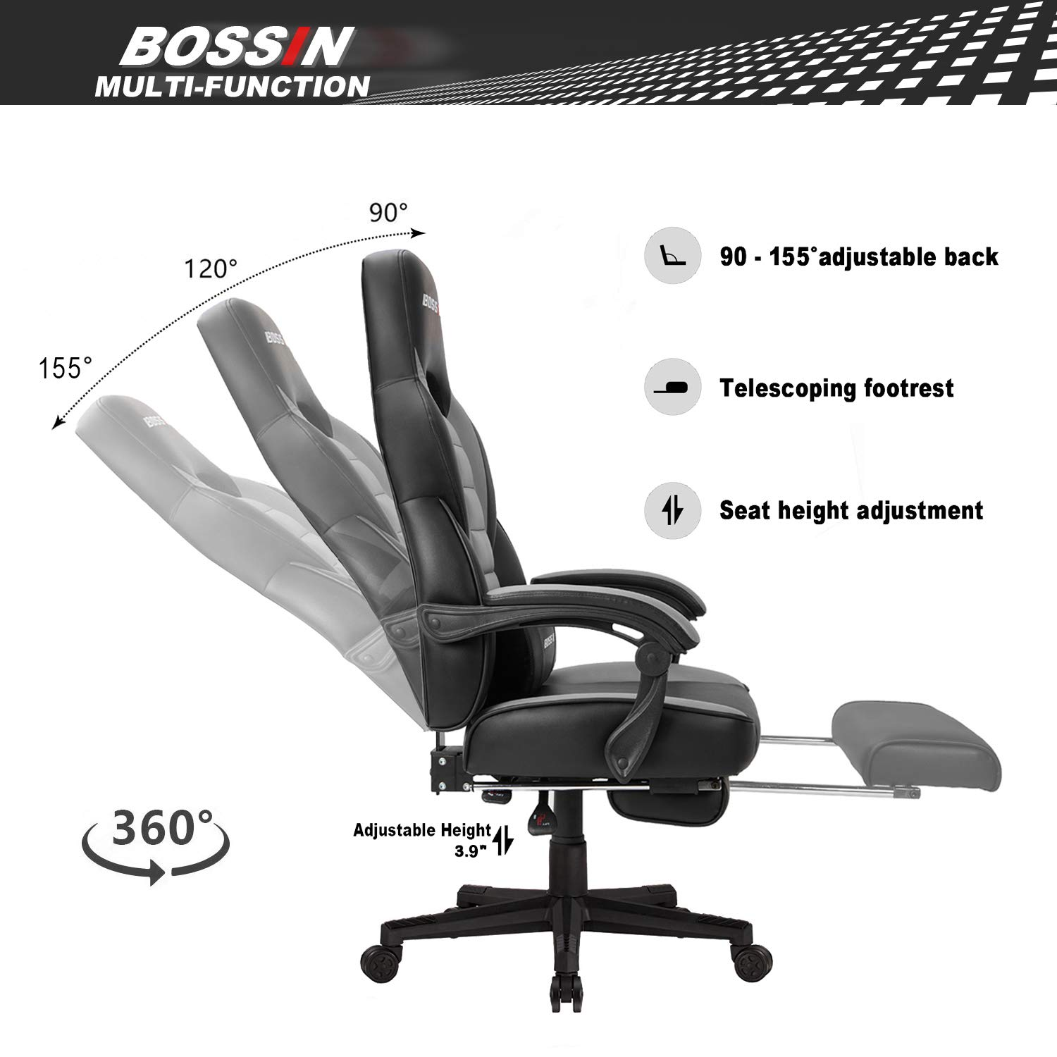 Bossin Racing Style Gaming Chair Office Computer Desk