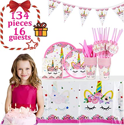 Girls/' Parties For Birthday Parties Unicorn Party Supplies Set 20 Pack Unicorn Plates And 20 Pack Napkins And 1 Pack Unicorn Plastic Tablecloth Etc.