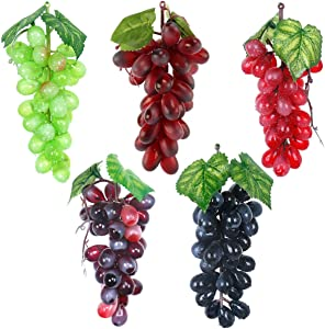 5 Pcs Artificial Grapes Faux Fruit, Fake Realistic Grapes Clusters Decor Plastic Grapes and Vines, Decorative Rubber Grapes Bunches in Black Purple Red Green Photography Bowl Prop Food Ornaments