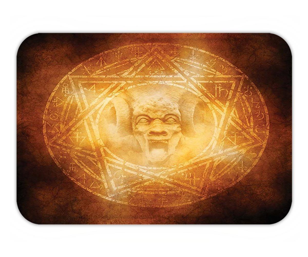 Minicoso Doormat Horror House Decor Demon Trap Symbol Logo Ceremony Creepy Ritual Fantasy Paranormal Design Orange