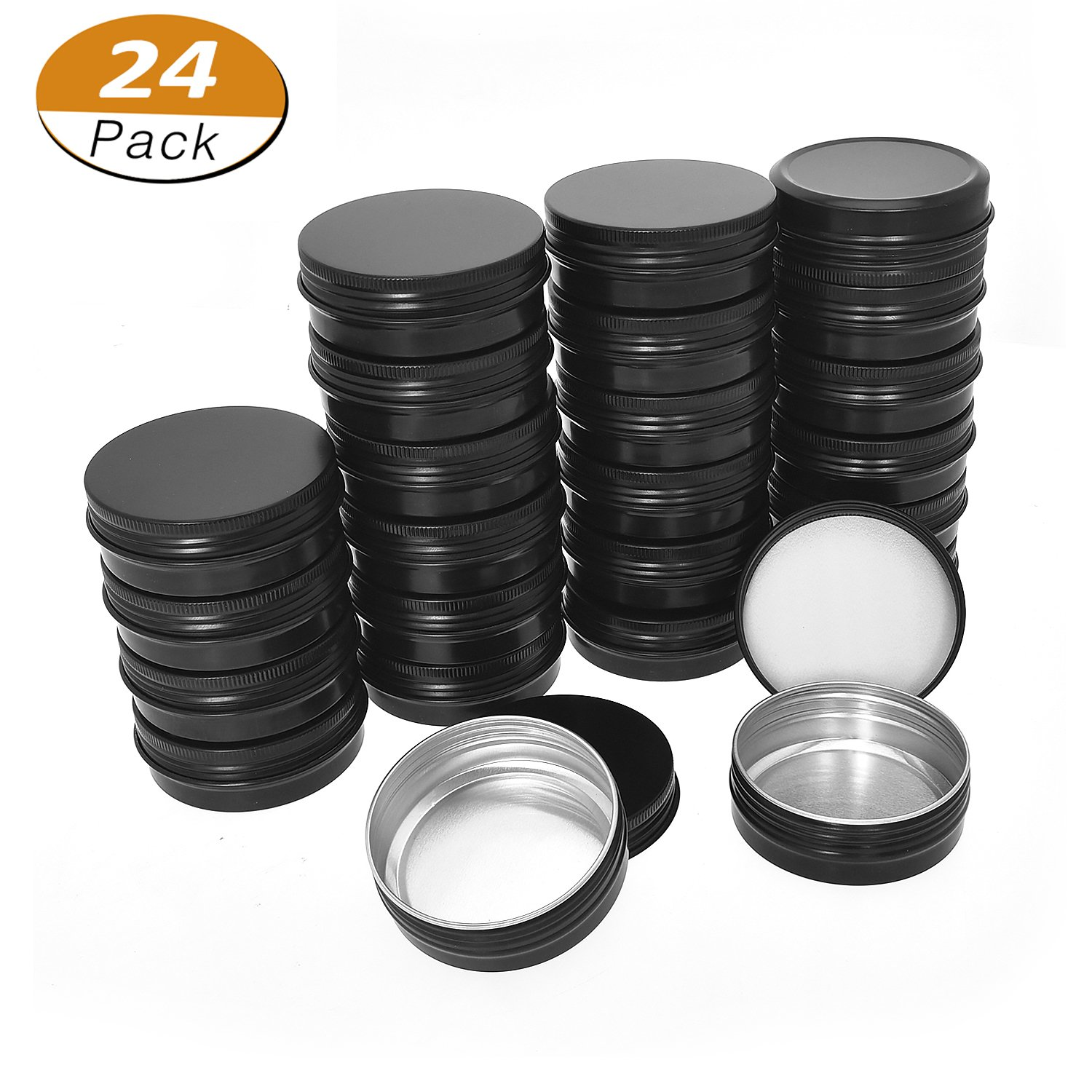 Aybloom Aluminum Tin Cans - 24 Pack 2OZ / 60G Round Metal Tin Container Screw Top Steel Tin Cans Cosmetic Sample Containers Candle Travel Tins