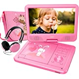 """FUNAVO 10.5"""" Portable DVD Player with Headphone, Carring Case, Swivel Screen, 5 Hours Rechargeable Battery, SD Card Slot and USB Port  (Pink)"""