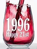 1996 - Happy 21st Birthday - Stemless Wine Glass