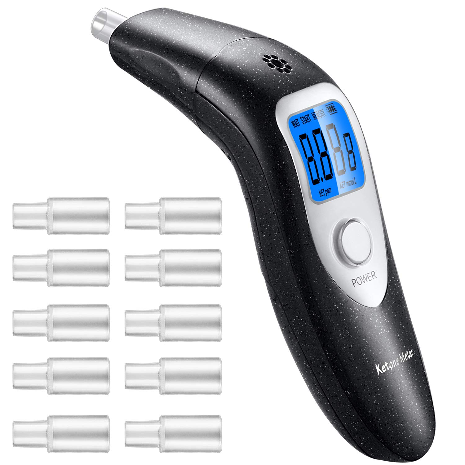 GDbow Ketone Meter, Portable Digital Ketone Breath Analyzer with 10 Mouthpieces for Personal Use by GDbow
