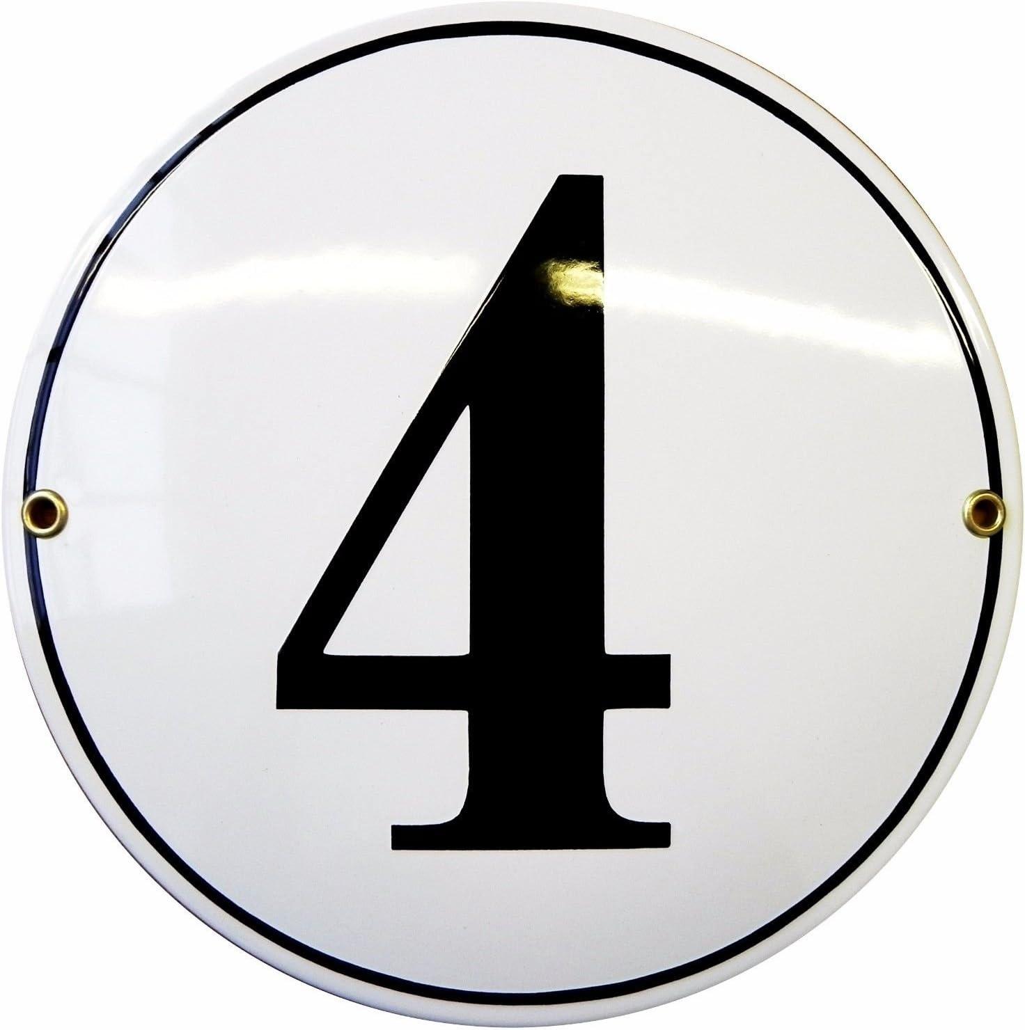 circle /Ø 20 cm plaque emaill/ée personnalis/ée panneau de porte Num/éro de rue