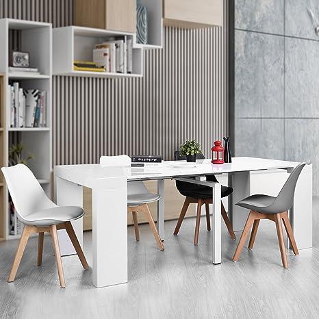 Furnish1, tavolo da pranzo allungabile salvaspazio, colore: bianco ...