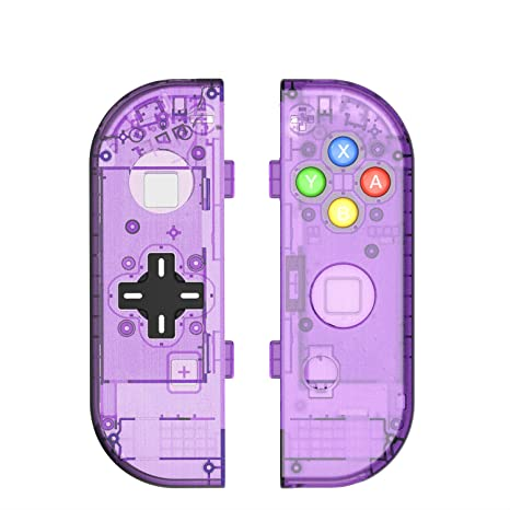 BASSTOP Translucent NS Joycon Handheld Controller Housing With D-Pad Button  DIY Replacement Shell Case for Nintendo Switch Joy-Con (L/R) Without