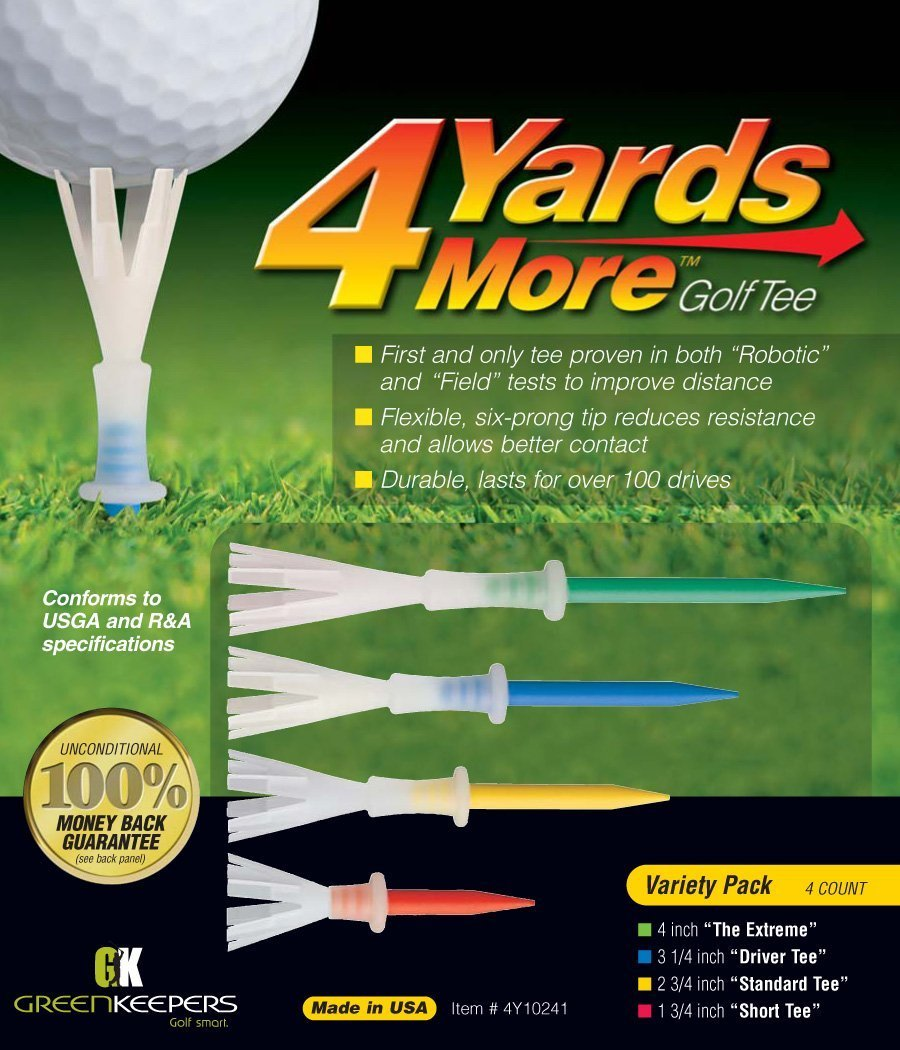 Greenkeepers. 4 Yards More Golf Tee - Variety Pack (4 Tees) (Limited Edition)
