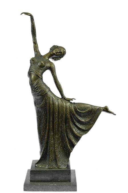 Art Deco Hand Made Snake Dancer Chiparus Home//Office Decor Bronze Sculpture Sale
