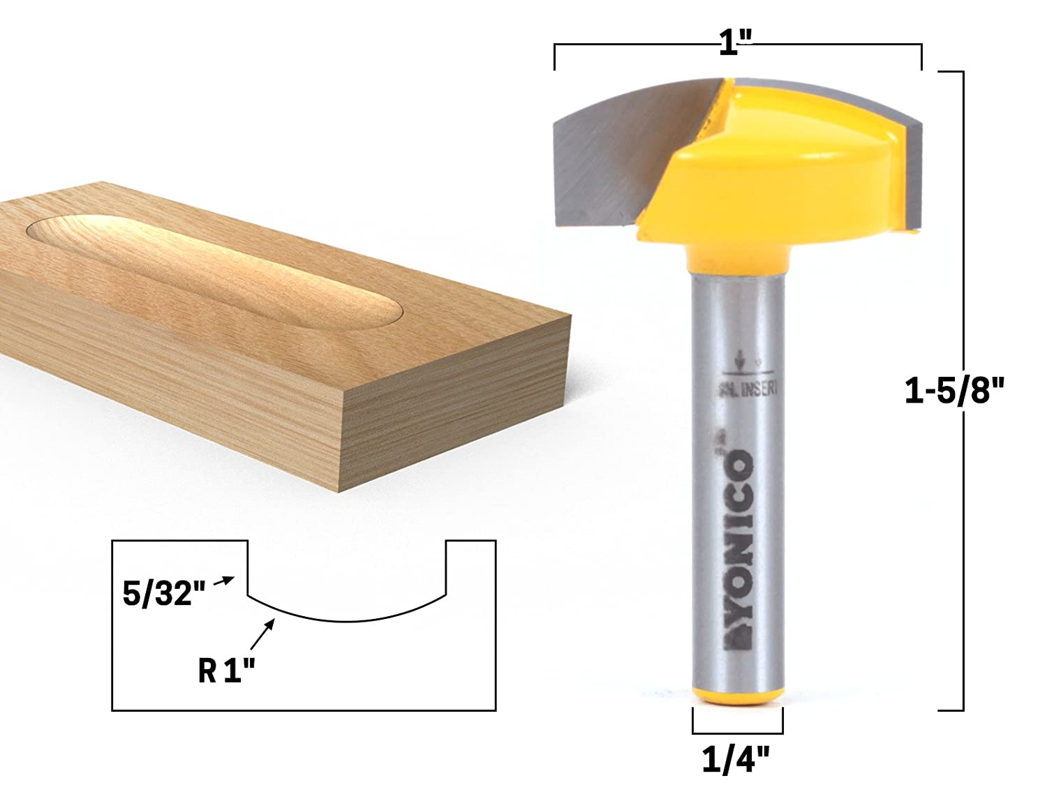 uxcell 1//2 Inch x 7//8 Inch Carpenter Woodworking Round Nose Cove Box Router Bit Cutting Tool
