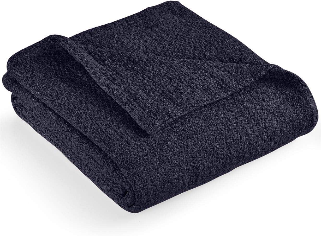"""Lauren by Ralph Lauren Classic Cotton King Bed Blanket 108"""" x 90"""" - Navy"""