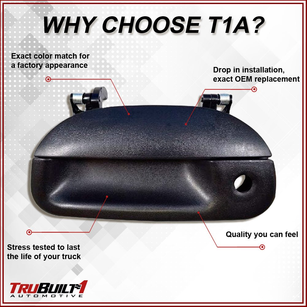 w//Tailgate Lock Hole black Door Handle textured by TruBuilt 1 Automotive T1A-7L3Z-9943400AA 97-03 FORD F150 PICKUP