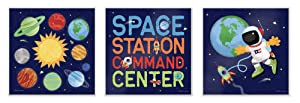 The Kids Room By Stupell Bright Space Station Command Center Trio with Solar System Rockets and Stars Wall Plaque Art, 3pc, Each 12 x 12, Proudly Made in USA