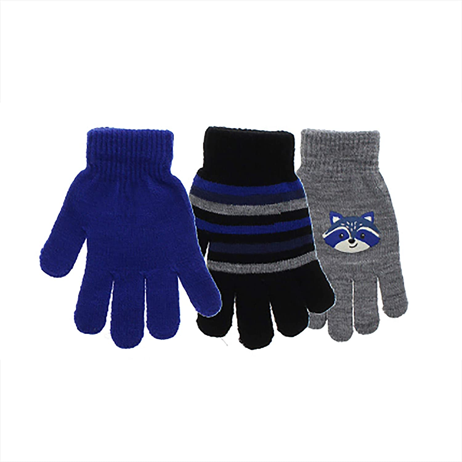 Kid's Cute Striped Warm Winter Mittens Magic Stretch Knit Cold Weather Outdoor Gloves Assorted Multi Pack (Grey and Blue Raccoon): Clothing