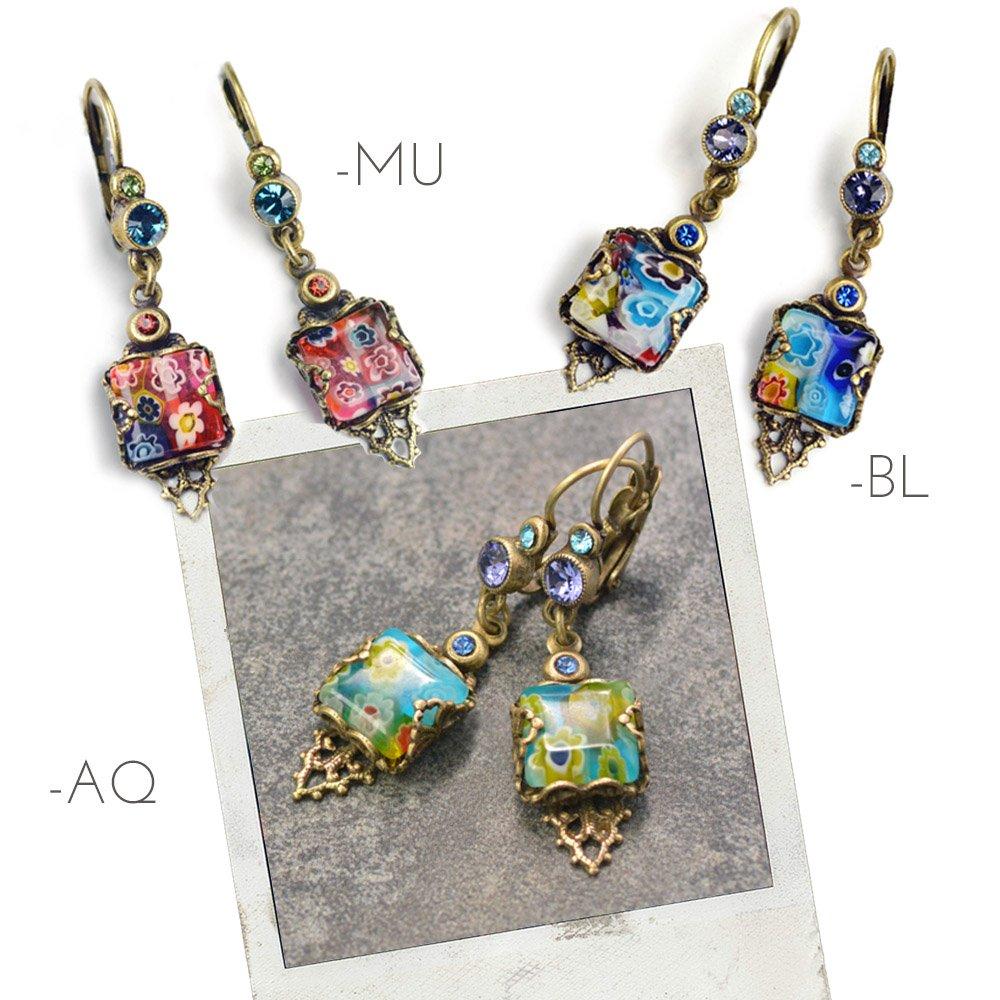 Millefiori Glass Vintage Square Earrings, Millefiori Jewelry, Boho Earrings, Festival Jewelry, Retro Summer Earrings, Murano Glass E1382 (Aqua)