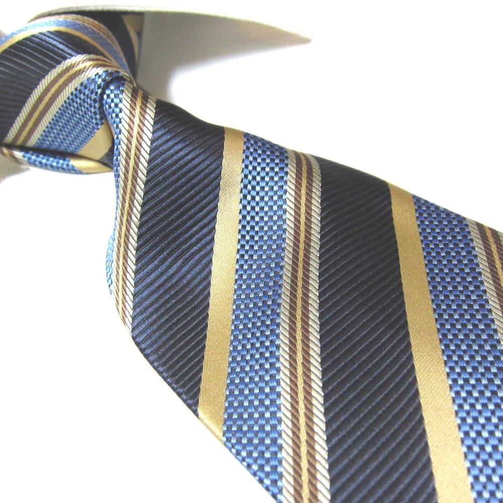 Extra Long Fashion Tie Microfibre Stripe XL Men's Jacquard Necktie 63'' (Blue/Golden)