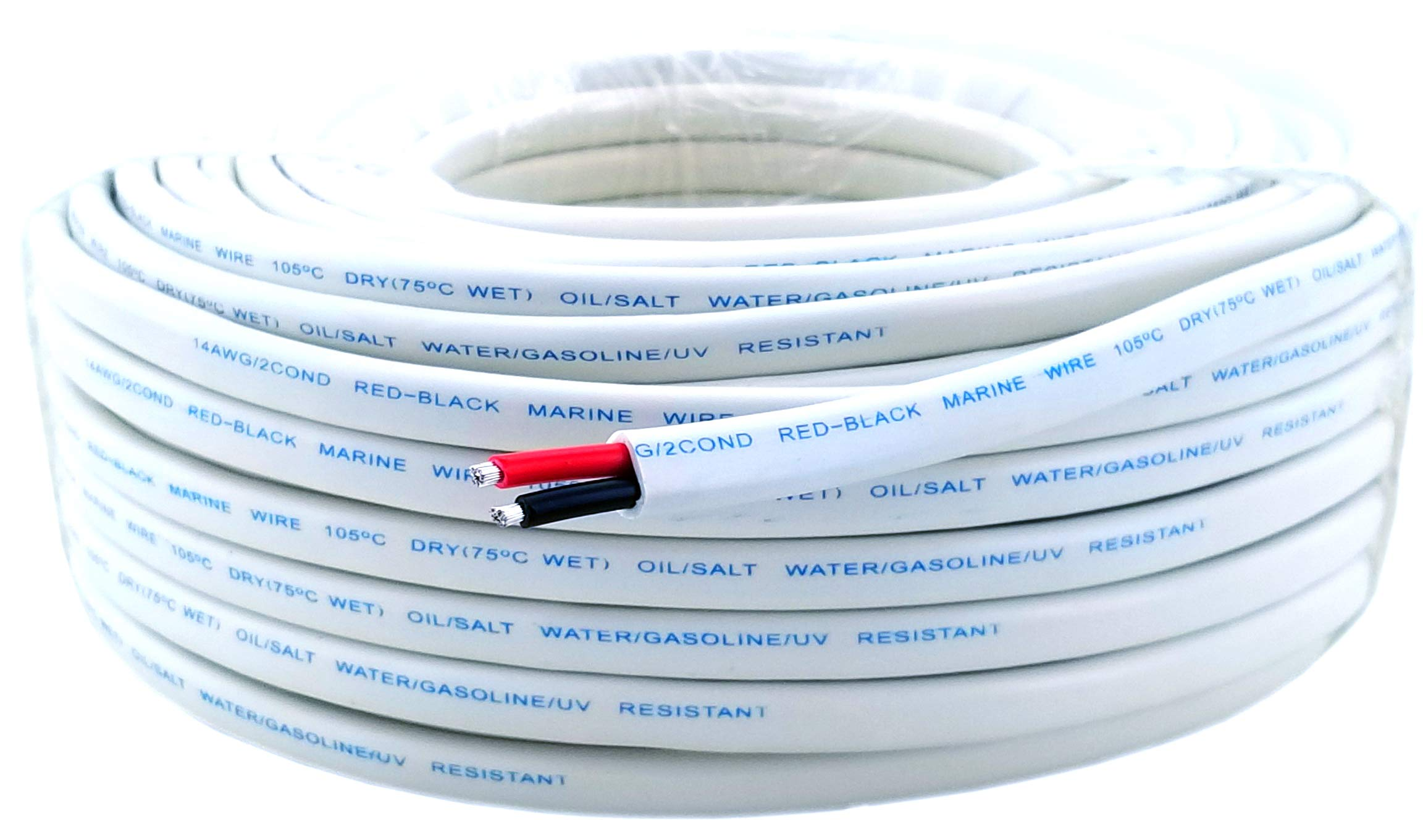 14 Gauge (American Wire Ga) Tinned Oxygen Free Copper Red Black Duplex Sheathed Marine Boat Wire. | Cable Length: 100 FT (Also Available in 50 FT roll) by GS Power (Image #1)