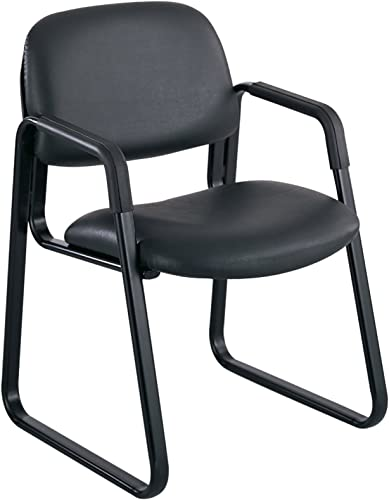 Safco Products Cava Urth Sled Base Guest Chair, Black Vinyl